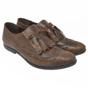 *BORN Sz 7.5M Brown Leather Slip On Tassel Loafers